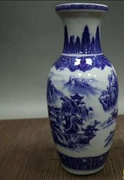 pluma de incienso Rebajas colección de porcelana antigua Jingdezhen azul y blanco Modelo del paisaje de la decoración jarrón de porcelana antiguos oficios caseros de la decoración