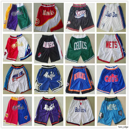 Billig basketball kurz online-Top High Quality Basketball Just Don Short Pant Cheap Wholesale Stitched Pocket Retro Shorts Mens Shorts Size S M L XL XXL