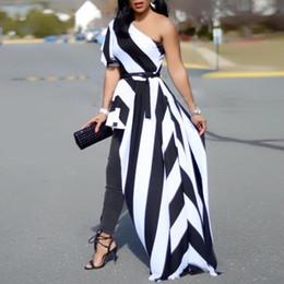 Mujeres 2019 Moda de Verano Con Estilo Casual Elegante Camisa de Fiesta Femenina Un Hombro Contraste Rayado Largo Top Blusa Asimétrica J190515 desde fabricantes