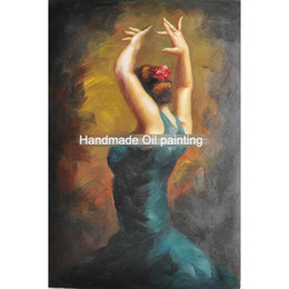 Olio spagnolo online-Modern art paintings dancing girl Spanish-Flamenco-Dancing-Oil-Painting hand-painted home decor