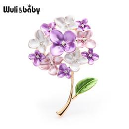 broches lila Rebajas Wulibaby Purple Red Blue Lilac Broches de flores Mujeres Bodas Fiesta Broche Pins Regalos