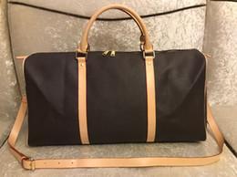 Bolsas de couro para viagem on-line-2016 nova moda das mulheres dos homens saco de viagem saco de duffle, bolsas de bagagem de couro grande capacidade saco de desporto 55 CM