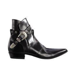 homens da boina do cowboy Desconto Hot Sale-Buckle Chains Botas de Motociclista de couro Macio Mens Western Tamanho Grande 46 Sapatos de Sapatinho de Cowboy
