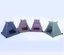 gatti di cuccioli Sconti 2019 Creativo Portatile pieghevole a strisce Pet Tenda Dog House Gabbia Dog Cat Tenda Box Cucciolo Kennel Facile Operazione Forniture da esterno