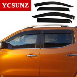 nissan navara carros Desconto 2014-2018 carro defletor de vento para nissan navara fronteira 2017 d23 preto janela defletor guarda para nissan navara viseira ycsunz