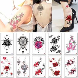 tatuajes de henna en la muñeca Rebajas Temporal Pequeña Flor etiqueta tatuaje dibujo coloreado Diseño para Niños Niñas del pie de la muñeca del brazo del cuerpo de la alheña Peonías Equinox flor de loto tatuaje 3D