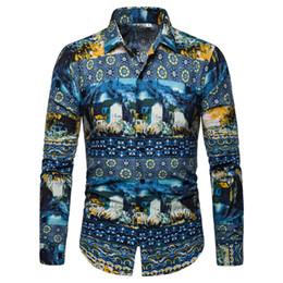 Camisas para hombre Camisa de manga larga con cuello caído Hombres Nueva llegada Casual Blusa masculina Moda Ropa floral Slim Fit Estilo coreano desde fabricantes