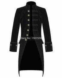 Chaquetas steampunk online-Abrigo de cola de hombre Steampunk de moda para hombre Chaqueta larga retro Chaqueta masculina negra de un solo pecho para ropa de baile de graduación 2019