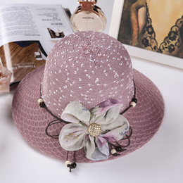 16490d18e55 Sandy Beach Sunshade Hat Lady Fashion Flower Sun Cap Spring And Summer  Ventilation Comfortable Straw Hats Hot Selling Style 6dnI1