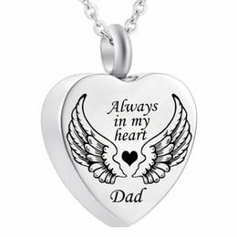 Collar de alas de corazón colgantes online-Ala de ángel Siempre en mi corazón Cremación Urna Ceniza Joyas Recuerdo Colgante Collar
