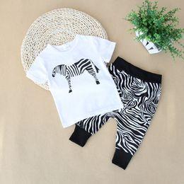 Argentina Baby Boy Ropa Set Verano de dibujos animados Zebra Top de dibujos animados y pantalones a rayas Ropa de bebé Algodón Niños Monos Niños Trajes Ropa de bebé Conjuntos Suministro