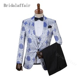 d422c36516cf Bridalaffair Men Suit Blue and white porcelain Suit with Pants Tuxedo Shawl  Collar Wedding Suit Custom Made (Jacket+Pants+vest)