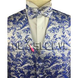 Si adatta al colore bianco online-Mens Formal Business blu e bianco mix colore Vest for Suit o Tuxedo