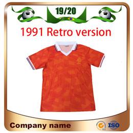 Jersey corto de holanda online-1991 Versión retro Holland Soccer Jersey 1991/1992 Holland Classic Edition Uniforme de fútbol de equipo nacional de manga corta
