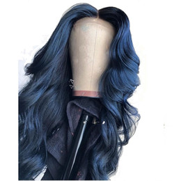 Schwarze brötchenperücke online-13X6 Deep Part Blue Colored Lace Front Human Hair Wigs Loose Wave Full Lace Frontal For Black Women Preplucked Can Make 360 Bun