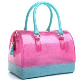 Bolsos de silicona online-JELLYOOY Gran tamaño 26 cm bolso de la manera de las mujeres de silicona jalea bolsa Boutique Tote caramelo transparente Feminina bolso de playa embrague