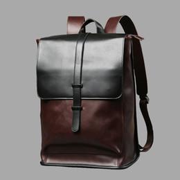 Bolsos de cuero vintage para laptop online-Vintage Laptop Mochilas de cuero para mochilas escolares Hombres PU Viaje Mochilas de ocio Retro Casual Bolsa Mochilas escolares Adolescente Estudiantes