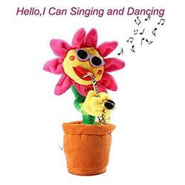 2020 brinquedos de felpa de girassol Saxofone girassol Pelúcia elétricos cantando e dançando Girassol flor da dança boneca óculos de sol engraçados girassol para Crianças Crianças desconto brinquedos de felpa de girassol