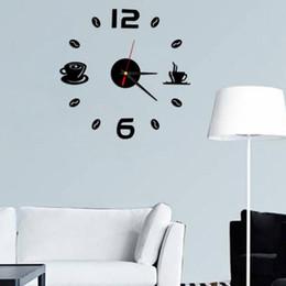 panneau marcheur Promotion 3D tasses à café salon art diy horloges murales miroir horloge design moderne montres décoration de la maison bricolage décor autocollant cuisine