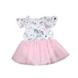 84c7b462e2ca 2019 New Infant Baby Girls Rompers Dress Ruffles Sleeve Cartoon Unicorn  Printed Lace Tulle Tutu Princess Dresses 4445