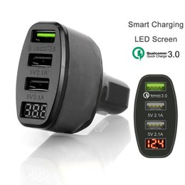 Cep Telefonu Şarj 3 Port USB Araç Şarj Adaptörü LED Ekran Android IOS için QC 3.0 Hızlı Şarj nereden