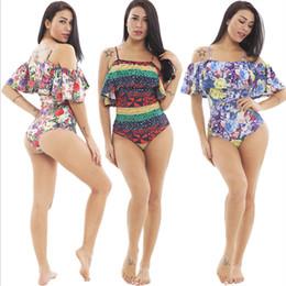 Bikini à une bretelle en Ligne-2019 femmes maillots de bain sexy bikini impression maillots de bain une pièce sexy falbala bikini une pièce maillots de bain plage maillots de bain spaghetti sangle maillot de bain