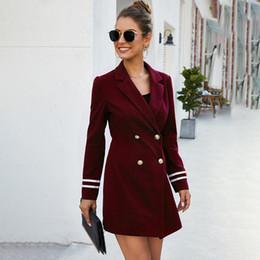 Solapas de abrigo de tela online-mujeres de pechos de doble cultiva su moralidad en la solapa de la capa larga tela británica chaqueta del traje femenino 2020 Europa y los Estados Unidos el