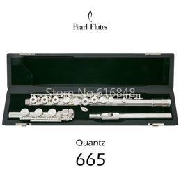 Nuevo Pearl Quantz 665 Marca 17 Llaves Flauta Agujeros abiertos Cupronickel Plateado Plateado Flauta de superficie Instrumento musical con estuche desde fabricantes