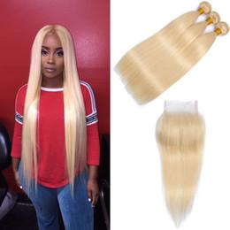 Parte de tejido brasileño online-Modista Recta 613 Paquetes de cabello rubio con cierre de encaje Parte libre Miel Rubia Armadura brasileña 613 Cabello humano rubio