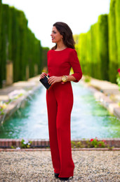 Vestiti i pantaloni del pagliaccetto online-2019 New Hot Evening vendita donne sexy pagliaccetto colore puro backless tre quarti vestito manica abito tuta Celebrity Elegante Playsuit dh-3