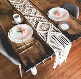 Deco di cotone online-Runner Tovaglia Tessuto Copriletto Nordic Semplice Geometrica Handmade Cotton Knitting Nappe Modern Home Store Deco