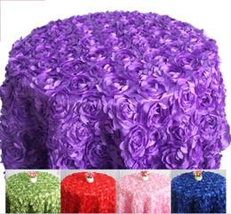 Çeşitli renkler Yuvarlak Masa örtüsü rozet oyalamak masa örtüsü 3D düğün otel için yuvarlak gül çiçek tasarım cheap round wedding table covers nereden yuvarlak düğün masa örtüleri tedarikçiler
