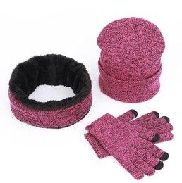 Canada Tricoté bonnet écharpe gant ensemble 3pcs hiver tricotant unisexe épaissir plus velours écharpe Caps ensemble avec logo LJJO7122 cheap logo sets Offre