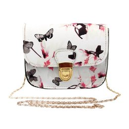 Monederos con estampado de mariposas online-Bolso de las mujeres Hombro Bolsa de Mensajero Mariposa Flor de Impresión Bolso de Mensajero Tote Bolso de Las Señoras Mini Paquete Pequeño Nave de la gota #y