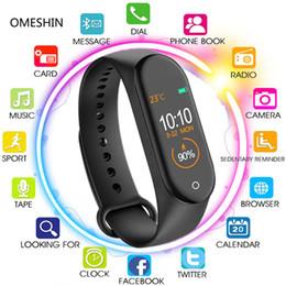 2019 chamadas de resposta de pulseira 1 Set M4 inteligente banda 4 de Fitness Rastreador relógio de pulseira Pressão Ritmo Cardíaco Sangue Smartband Health Monitor Pulseira PK mi banda