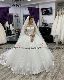 puffy church dresses Coupons - 2020 sheer Lace Ball Gown with Illusion Bodice Pnina Tornai Wedding Gown puffy Skirt Church Train Plus Size Wedding Dress custom made