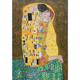 2020 pinturas al óleo de calidad de las mujeres Gustav Klimt pinturas al óleo lienzo El beso de impresión del cartel del arte del retrato del cuadro mujer hermosa para la decoración de la pared de alta calidad pinturas al óleo de calidad de las mujeres baratos