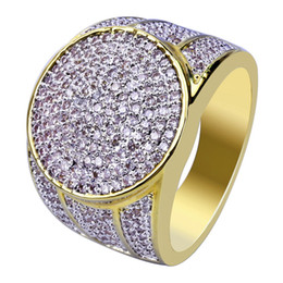 comfort fit rings Coupons - 18K Gold Plated Copper CZ Cubic Zirconia Hip Hop Round Button Bling Rings Diamond Jewelry for Men 18mm Size 7 to 11 Comfort Fit Wholesale