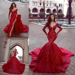 2019 vestidos de baile vermelhos sexy Novos 2019 Red Prom Vestido Longo Sexy manga comprida V profundo Neck formal do partido vestido Appliqued Bainha sereia Vestidos Pageant vestidos de baile vermelhos sexy barato