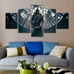 2019 assassini creed canvas Modern 5 pannelli assassini creed syndicate gioco HD Canvas Print Home decorazione Pittura artistica frameless assassini creed canvas economici