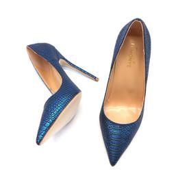 zapatos de noche de talla grande Rebajas 2019 nuevo diseñador azul real serpiente pitón punta estrecha noche sexy zapatos de tacón alto 12 cm más tamaño 44 45 tamaño pequeño 33 34 bomba