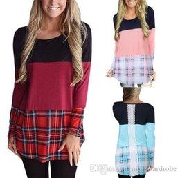 Canada Couleurs patched plaids t-shirt femme manches longues tshirts dentelle conception tops cheap lace patches Offre