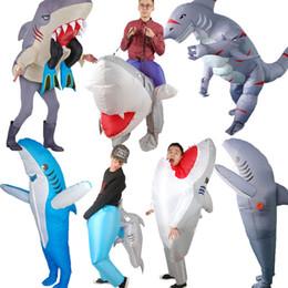 2019 animales de apoyo de escenario Disfraces de Halloween Carnaval inflable del partido del traje de tiburón para mujeres hombres mascota animal apoyos representaciones teatrales animales de apoyo de escenario baratos