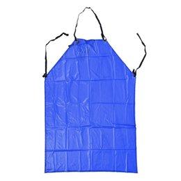 Delantales de plástico online-Plástico Delantal de cocina Cocina babero azul de trabajo