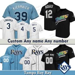 tampa baseball Desconto Personalizado Tampa Bay Men Ray jersey Wade Boggs 39 Kevin Kiermaier 4 Blake Snell 3 Camisas de Basebol Duffy Evan Longoria 5 Matt Alvarado