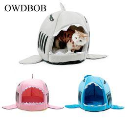 2019 katze haus hai OWDBOB Shark Dog House Bett Haustier Hund Katze Sofa Zwinger für kleine mittlere Schlafen Nest Kissen warme weiche Kätzchen Welpen Bett Matte rabatt katze haus hai