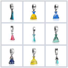Aschenputtel schmuck perlen online-Prinzessin Emaille Kleid Anhänger Silber Überzogene Mädchen Rock Cinderella Alloy Charm Perlen Baumeln Europäischen DIY Schmuck Zubehör