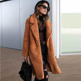 Sherpa das mulheres Casaco Longo Inverno Frente Aberta Cardigan Casaco de Lã Casaco de Pele Falsa Quente Outerwear CJH1101 de Fornecedores de casaco de estilo coreano feminino cinza