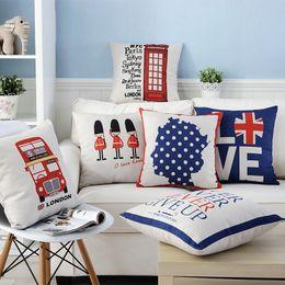 Travesseiro inglaterra on-line-Concise Inglaterra Air Pillow Bus Cotton Voltar Almofada Almofada Moda Sofá Set Algodão Siesta Travesseiro