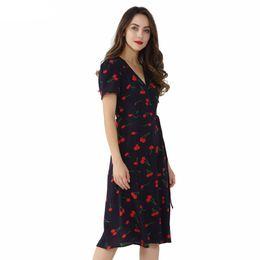 Robe à motifs croisés en Ligne-Vintage col en V motif floral midi robe cache-cœur robe cerise noeud papillon Croix Design à manches courtes Robe